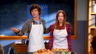 Axl (Charlie McDermott) and Sue (Eden Sher) are partners on a project in their shared life skills class.
