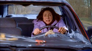 Frankie Heck (Patricia Heaton) discovers that a cellophane windshield was better than no windshield at all.