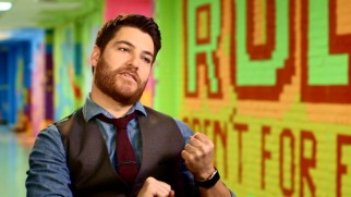 "Actor Adam Pally mimes the wedgie he invents in ""The Wedgie Wheel."""