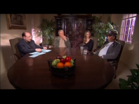 James Lipton lays out his cards in front of him while interviewing Eastwood, Swank, and Freeman in early 2005.