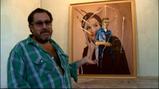 In his studio tour, director and artist Julian Schnabel shows more than enough chest as he explains the inspiration for these two contrasting people he painted one atop the other again and again.