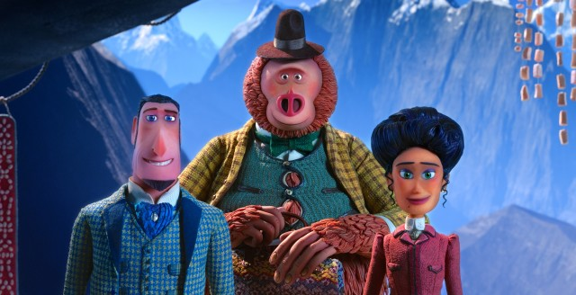 Sir Lionel Frost (Hugh Jackman), Mr. Link (Zach Galifianakis), and Adelina Fortnight (Zoe Saldana) journey to the Himalayas in search of Shangri-La (and yetis).