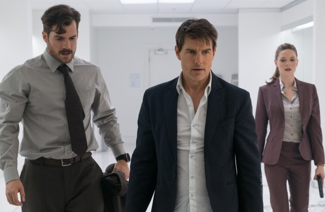 "Ethan Hunt (Tom Cruise) needs and gets help from August Walker (Henry Cavill) and Ilsa Faust (Rebecca Ferguson) in a breathtaking bathroom fight at a Berlin music festival in ""Mission: Impossible - Fallout."""