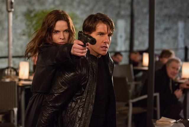 "Ethan Hunt (Tom Cruise) repeatedly finds himself in danger, with Ilsa Faust (Rebecca Ferguson) by his side in ""Mission: Impossible - Rogue Nation."""