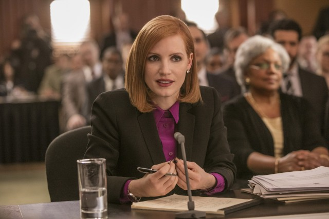 """Miss Sloane"" stars Jessica Chastain as Elizabeth Sloane, an influential political lobbyist, who pleads the Fifth Amendment at a Congressional hearing."