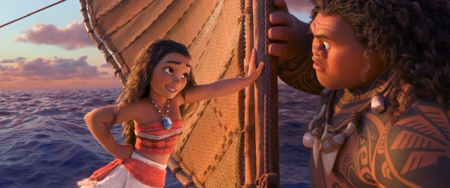 Moana surprises Maui with her ability to keep up with him on the ocean.