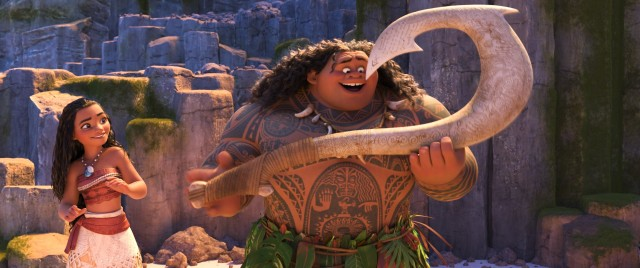 "The kind-hearted Moana (voiced by Auli'i Cravalho) and egotistical demigod Maui (Dwayne Johnson) make for an odd couple of voyagers to explore the ocean together in Disney's ""Moana."""