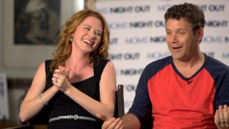 "Sarah Drew and Sean Astin laugh about how cool or uncool they are in ""Casting 'Moms' Night Out.'"""