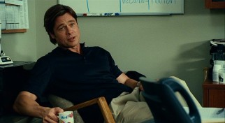 "In ""Moneyball"", Brad Pitt plays Oakland Athletics general manager Billy Beane, who believes numbers are the key to success."