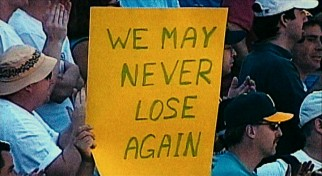 Archival footage captures the fan sentiment during the A's historic 2002 winning streak.