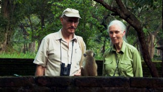 "Seasoned primatologists Wolfgang Dittus and Jane Goodall observe a little monkey on the Sri Lankan set of ""Monkey Kingdom."""