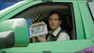 "Thomas Lennon gets silly with a clapboard in the gag reel for ""Monster Trucks"" (working title ""Formula M"")."