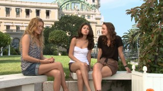 "The girls of ""Monte Carlo"" dish gossip in short shorts."