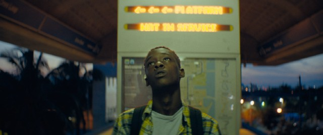 The teenaged Chiron (Ashton Sanders) escapes an unstable home by riding Miami's free transit system.