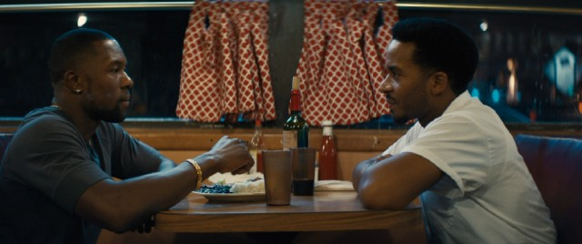 "At a Miami diner, a grown Chiron (a.k.a. Black) (Trevante Rhodes) reconnects with the only man who's touched him (André Holland) in the third and final act of ""Moonlight."""