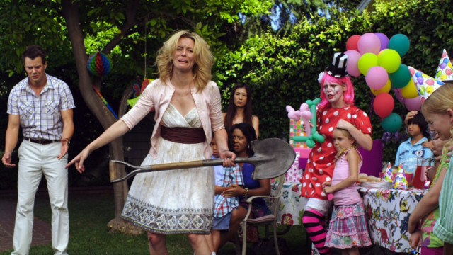 "A woman (Elizabeth Banks) interrupts a child's birthday party to confront her boyfriend's (Josh Duhamel) animated cat Beezel in the end credits segment of ""Movie 43."""