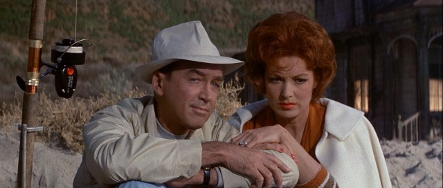 "Roger (Jimmy Stewart) and Peggy Hobbs (Maureen O'Hara) take a month-long seaside vacation with their children and grandchildren in the 1962 comedy ""Mr. Hobbs Takes a Vacation."""