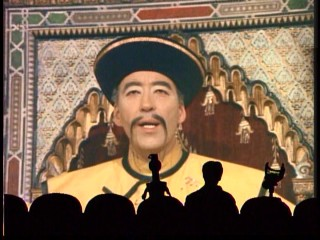 "Christopher Lee is Fu Manchu in ""The Castle of Fu Manchu."""