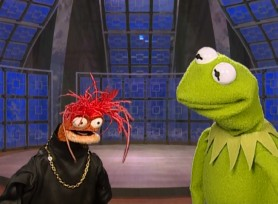 "Pepe the Prawn welcomes Kermit onto his talk show in this 2005 profile short ""Kermit: A Frog's Life."""