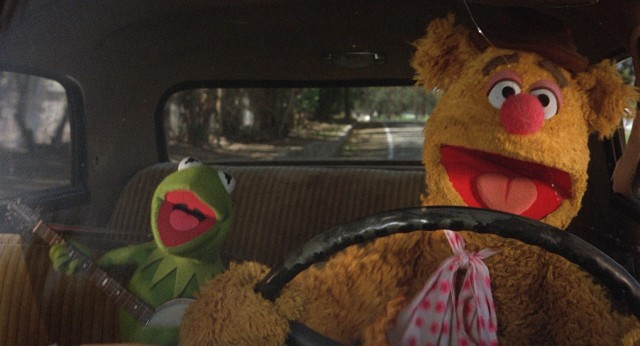 "Kermit the Frog and Fozzie Bear are the first Muppets to meet and hit the road for Hollywood in 1979's ""The Muppet Movie."""