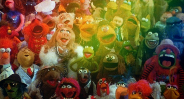 "A rainbow provides the perfect closing note over the largest assembly of Muppets to date in the finale of ""The Muppet Movie."""