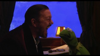 "Ricky Gervais characteristically cackles throughout ""The Longer Longest Blooper Reel in Muppets History."""