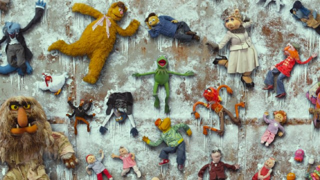 In a subpar visual effect, nearly the entire Muppet gang winds up on The Wall at the Siberian Gulag for the film-closing concert.