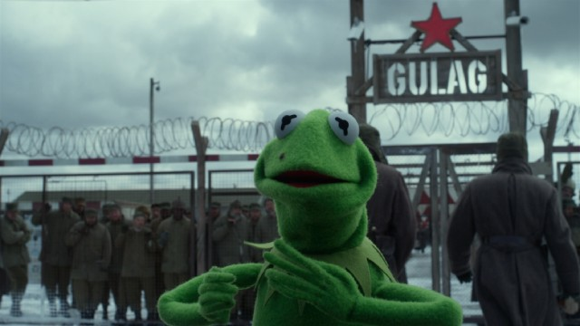 "Mistaken for the criminal genius Constantine, Kermit the Frog winds up in a Siberian Gulag in ""Muppets Most Wanted."""