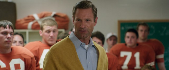 Top-billed Aaron Eckhart is at ease playing legendary University of Texas football coach Darrell Royal.