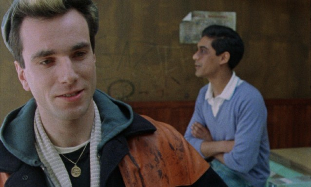 "Bleached blonde homeless punk Johnny (Daniel Day-Lewis) is brought in to work a London laundromat by his friend and lover, Omar (Gordon Warnecke) in Stephen Frears' ""My Beautiful Laundrette."""