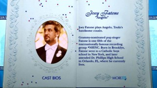 The illustrious career of *NSYNC singer turned actor Joey Fatone is detailed in his two-page Cast Biography.