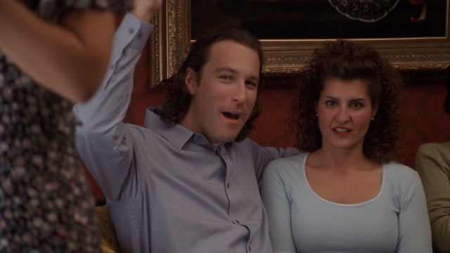 "Taking Toula's (Nia Vardalos) family in stride, Ian (John Corbett) lets out an ""Opa!"""