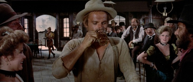 "Nobody (Terence Hill) wows a saloon with his ability to drink and shoot in ""My Name Is Nobody."""