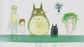 "The characters of ""My Neighbor Totoro"" are displayed in one of the 2010 retrospective making-of shorts."