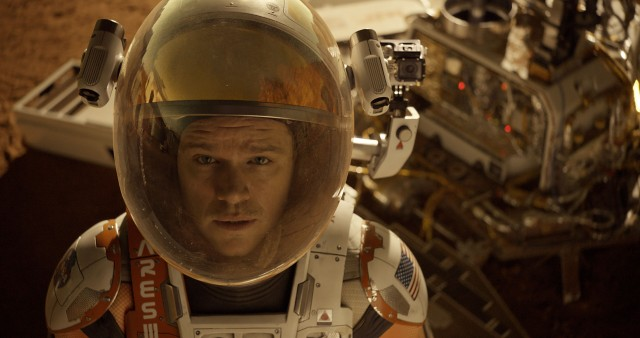 "Ha ha ha! Matt Damon stars as a NASA botanist stranded on Mars in the hilarious comedy ""The Martian."""