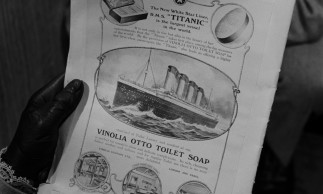 A soap ad talks up the Titanic in one of the few scenes set on land.