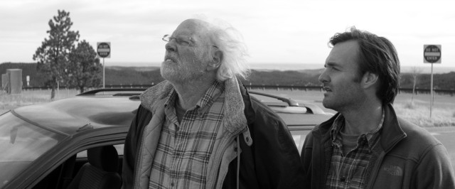 "Woody Grant (Bruce Dern) and his son David (Will Forte) take a quick look at Mount Rushmore from the side of the road in Alexander Payne's ""Nebraska."""