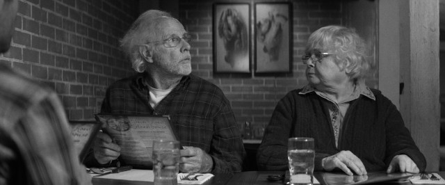 Meatloaf isn't on the menu, but that doesn't stop Woody (Bruce Dern) from trying to order it at the Back Road Steakhouse, to the disapproval of his wife Kate (June Squibb).