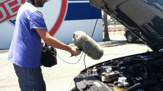 "A sound guy uses a fluffy microphone to record a powerful car engine in ""The Sound of 'Need for Speed.'"""