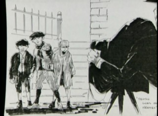This storyboard is compared to the corresponding clip from the final film.