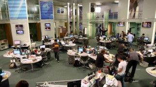 "This aerial shot from ""Mission Control"" shows off the spacious set ""The Newsroom"" calls home."
