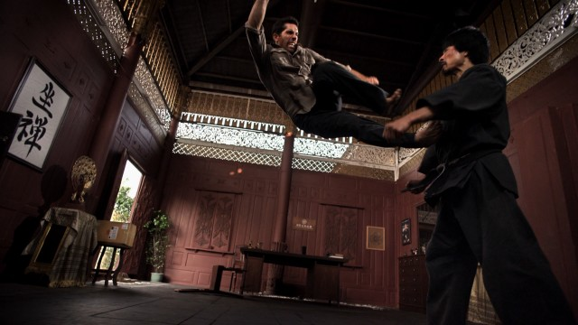 "Casey (Scott Adkins) gets a number of flying kicks in in the big finale fight against Nakabara (Kane Kosugi) of ""Ninja II: Shadow of a Tear."""