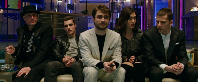 "Death-faking British tycoon Walter Mabry (Daniel Radcliffe) enlists the Four Horsemen (Woody Harrelson, Dave Franco, Lizzy Caplan, and Jesse Eisenberg) to pull off a major heist for him in ""Now You See Me 2."""