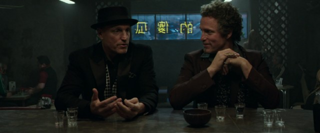 "Double your Harrelson, double your fun? Woody Harrelson plays both hypnotist Merritt McKinney and his tan, curly-haired, white-teethed evil twin brother Chase in ""Now You See Me 2."""