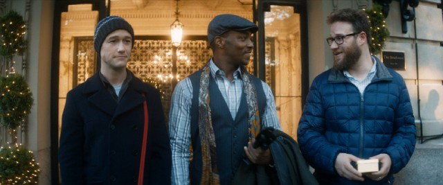 "In ""The Night Before"", three friends (Joseph Gordon-Levitt, Anthony Mackie and Seth Rogen) are excited to spend one final Christmas Eve together on the town."