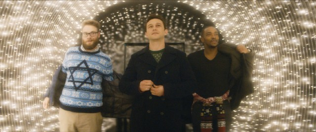 Isaac (Seth Rogen), Ethan (Joseph Gordon-Levitt), and Chris (Anthony Mackie) enter a magically lit tunnel on their way to the top-secret Nutcracker Ball.