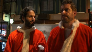 "Jason Mantzoukas and Jason Jones say a bunch of inappropriate things in and out of character in ""The Drunkest Santas on the Black."""