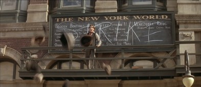 Jack Kelly (young Christian Bale) announces a New York City newspaper boy strike.