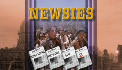 The fabulous Newsies DVD main menu.