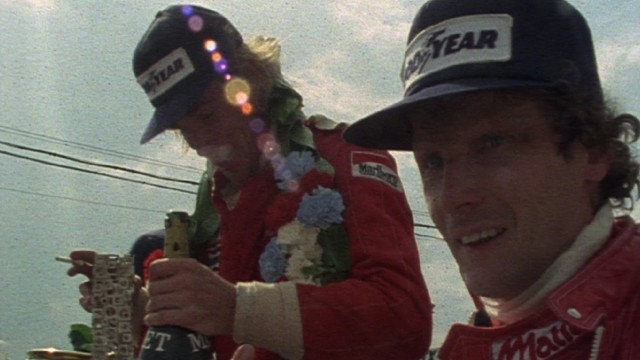 "James Hunt and Niki Lauda, the Formula 1 racers whose 1970s rivalry is dramatized in ""Rush"", claim much screentime in the second hour of ""1."""